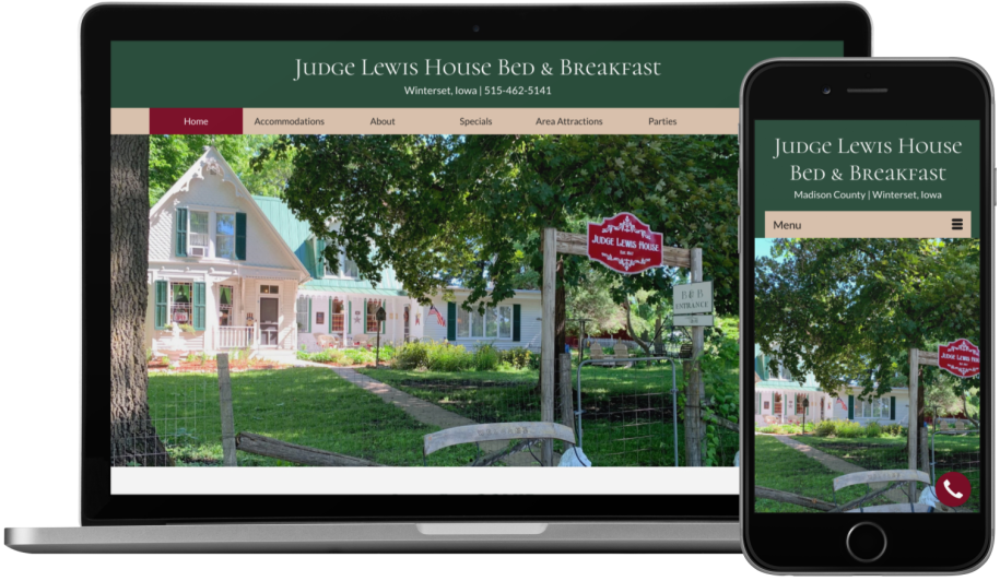 Judge Lewis House Bed & Breakfast Website